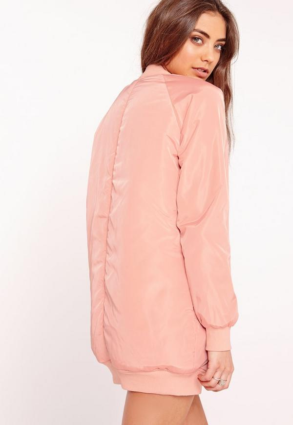 Longline Padded Bomber Jacket Pink | Missguided