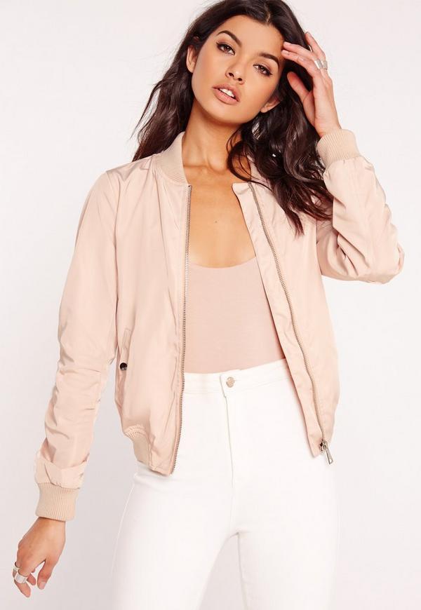 Lightweight Zipped Sleeve Pocket Bomber Jacket Pink