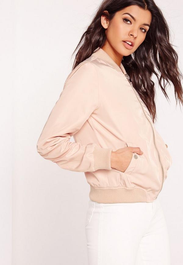 Lightweight Zipped Sleeve Pocket Bomber Jacket Pink | Missguided