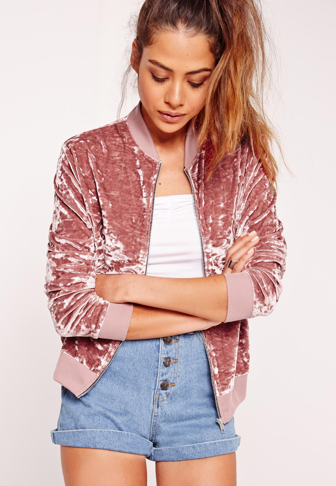 Velvet Bomber Jacket Pink | Missguided