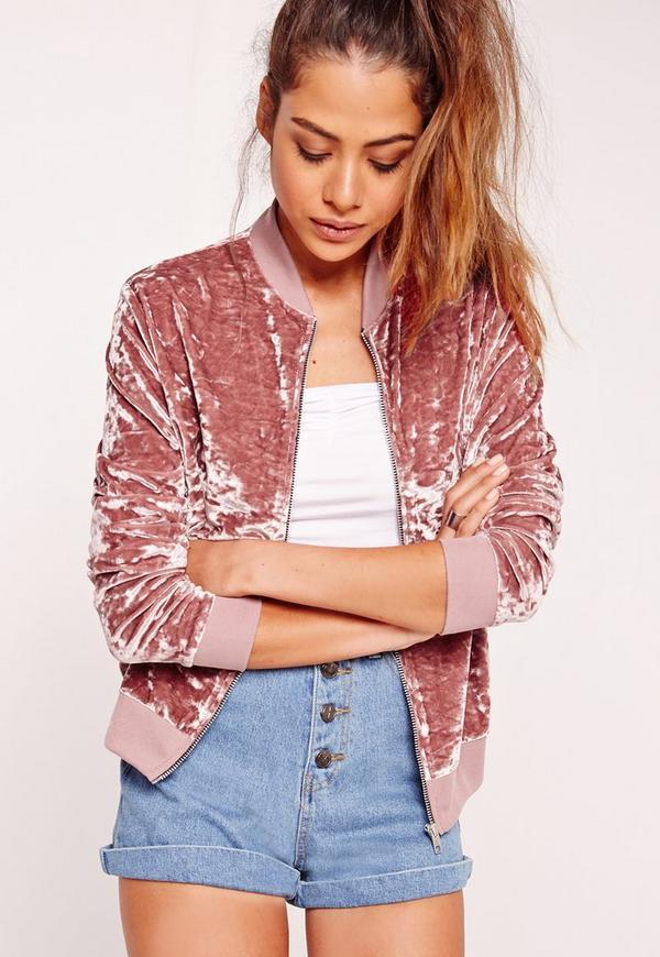 Velvet Bomber Jacket Pink