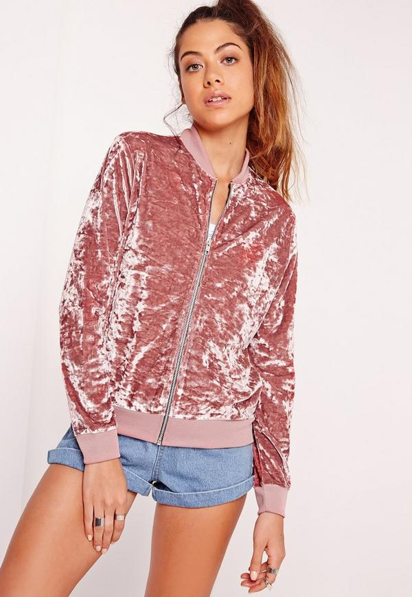 Velvet Bomber Jacket Pink - Missguided
