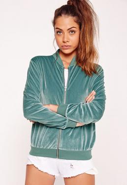 Velvet Bomber Jacket Green