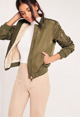 Khaki Faux Shearling Lightweight Lined Bomber Jacket
