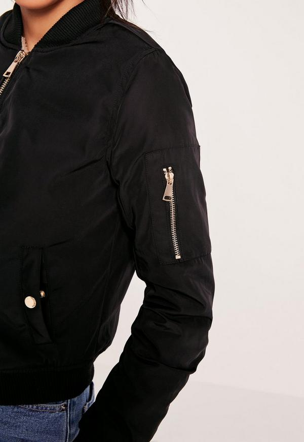 Lightweight Shearling Lined Bomber Jacket Black   Missguided