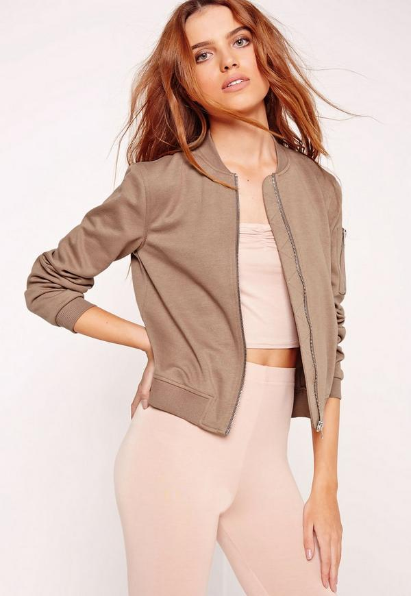 Ponte Zip Detail Bomber Jacket Brown
