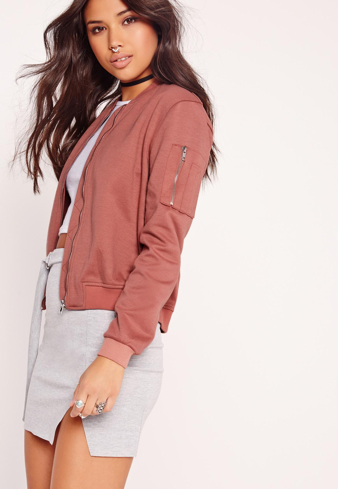 Ponte Bomber Jacket Pink | Missguided