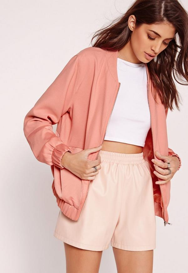 Satin Two Tone Bomber Jacket Pink