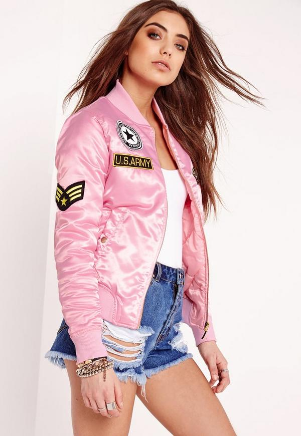 Padded Bomber Jacket Badge Pink