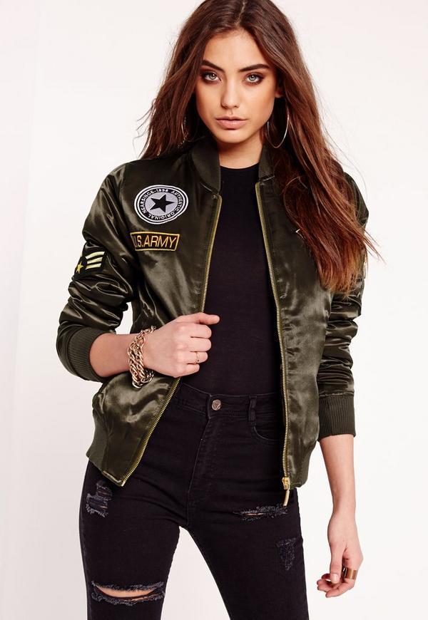 Padded Bomber Jacket Badge Khaki