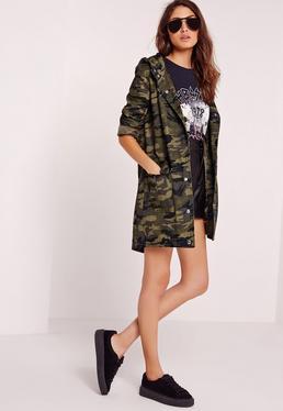 Veste longue utilitaire vert kaki camouflage