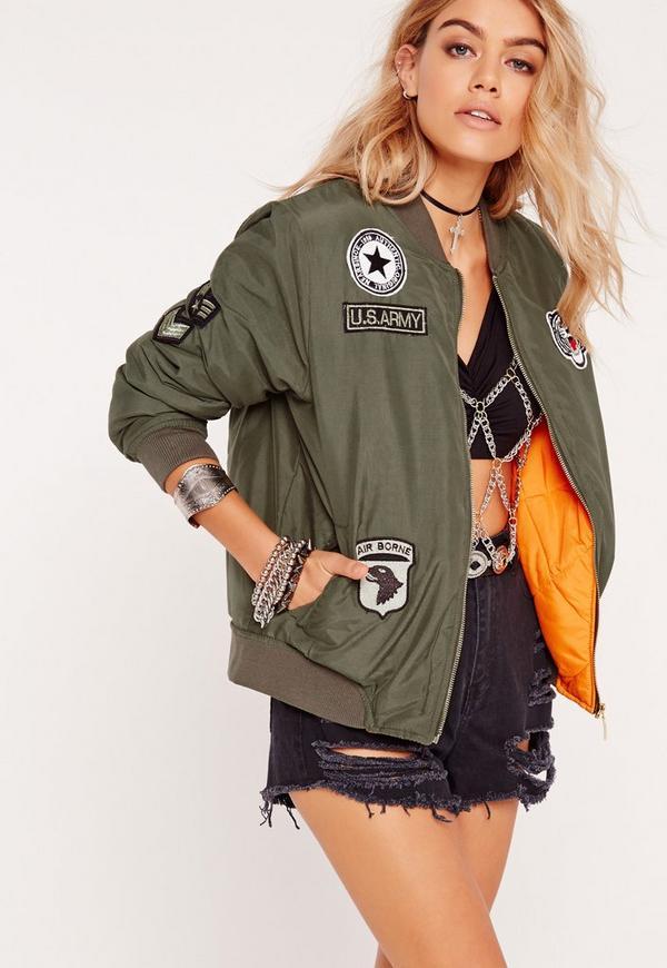 soft touch badge bomber jacket khaki