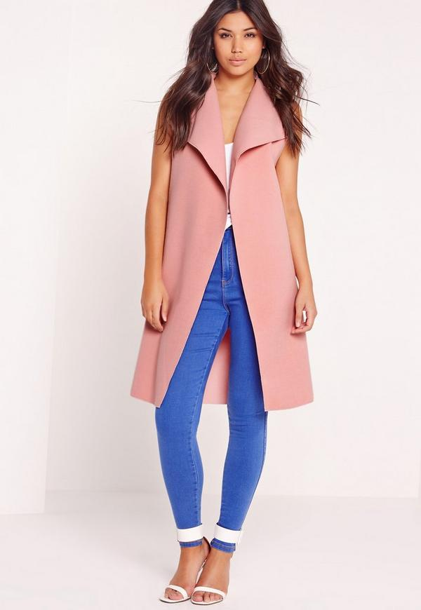 Sleeveless Felt Jacket Pink