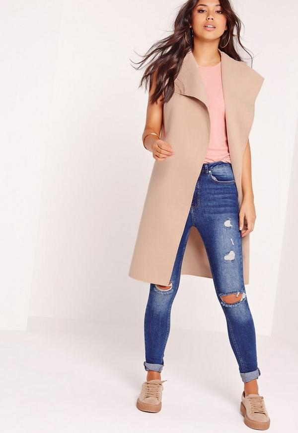 Sleeveless Felt Jacket Nude