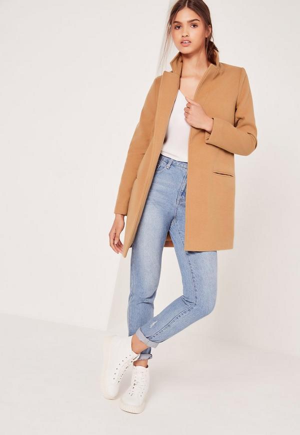 Short Tailored Wool Coat Camel