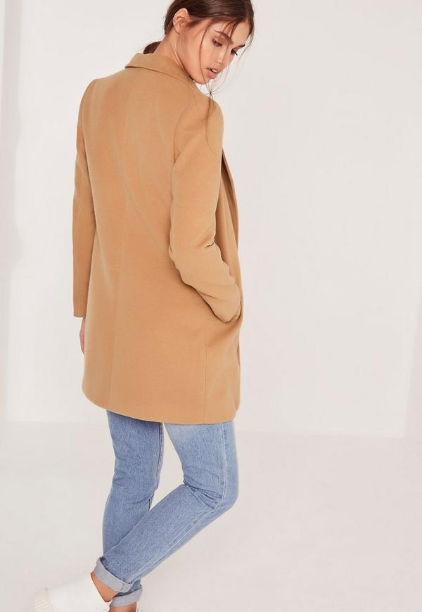 Short Tailored Wool Coat Camel | Missguided