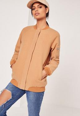 Faux Wool Bomber Jacket Camel