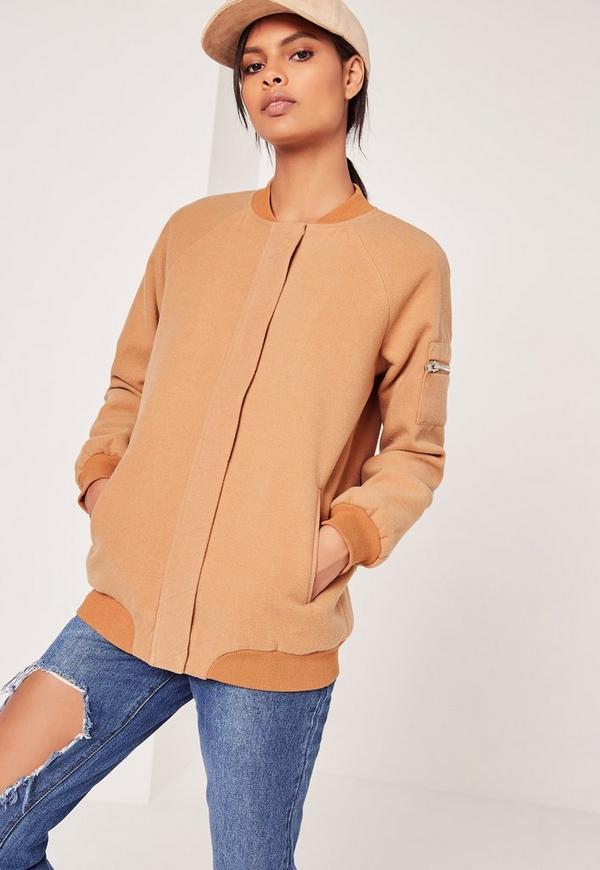 Faux Wool Bomber Jacket Camel