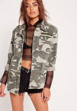 Utility-Jacke mit Camouflage-Print in Khaki