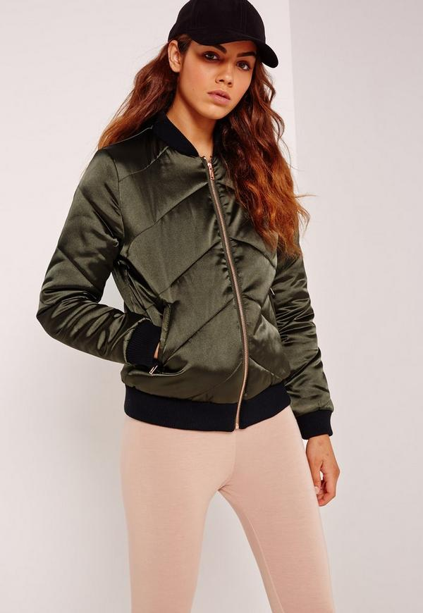 Satin Quilted Bomber Jacket Khaki Missguided