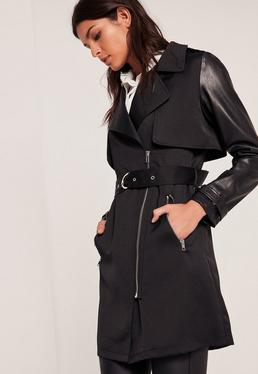 Black Faux Leather Sleeve Trench Coat