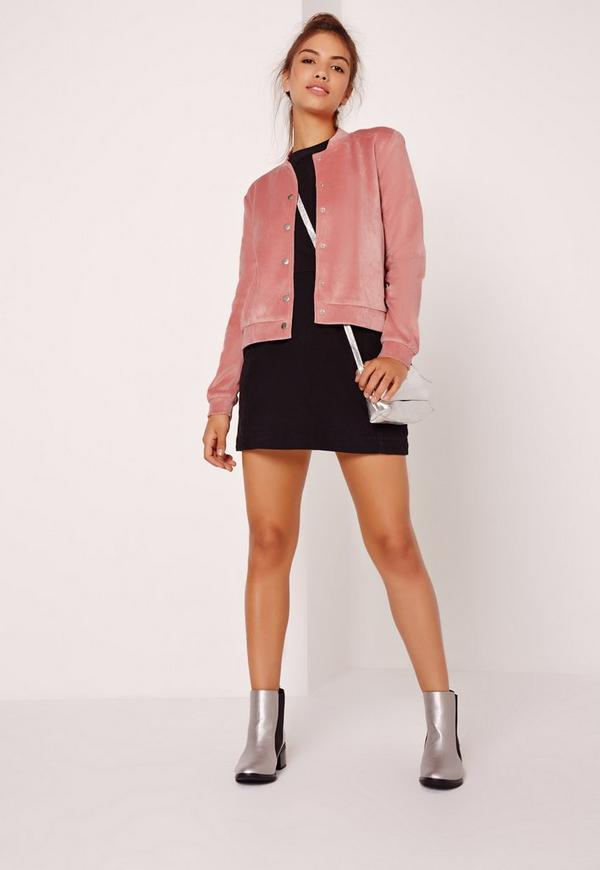 Velour Bomber Jacket Pink