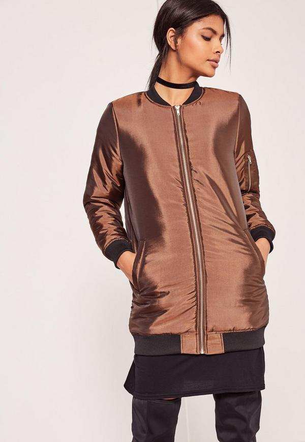 High Shine Longline Padded Bomber Jacket Bronze
