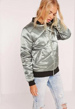 Silver Metallic Satin Quilted Bomber Jacket