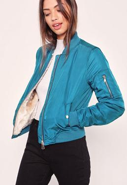 Faux Shearling Lined Bomber Jacket Blue