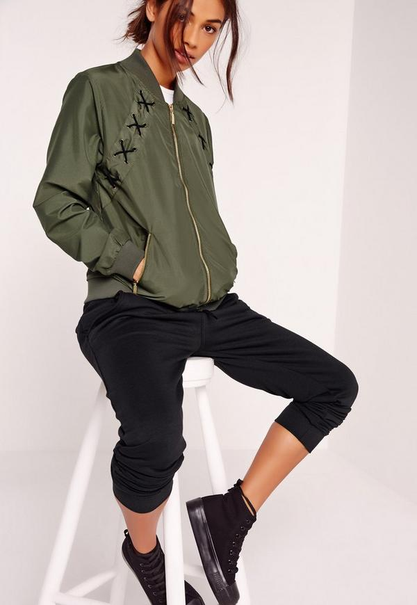 Lace Up Detail Bomber Jacket Khaki