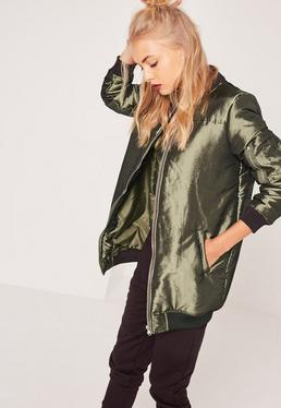 High Shine Longline Padded Bomber Jacket Khaki
