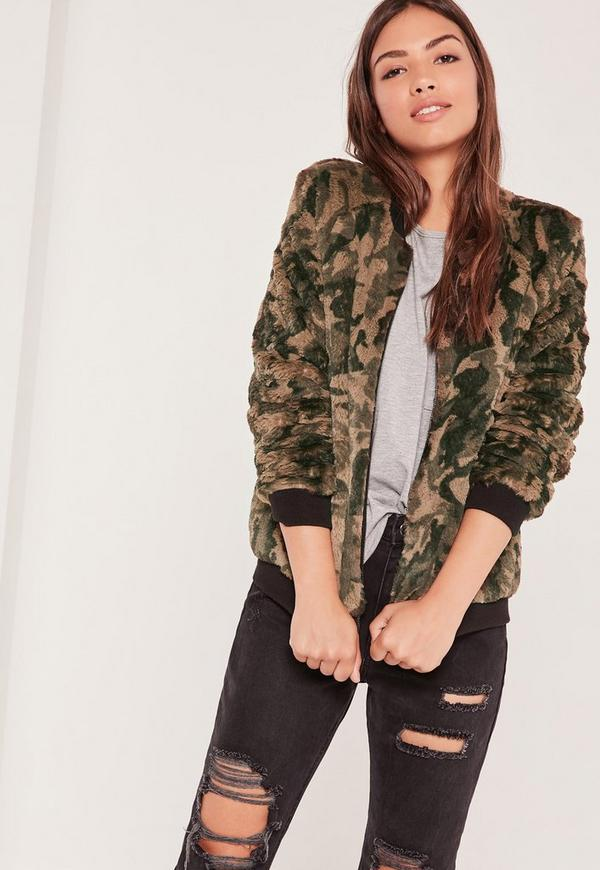Green Faux Fur Bomber Jacket