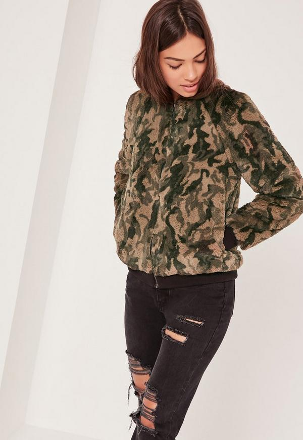 Green Faux Fur Bomber Jacket | Missguided