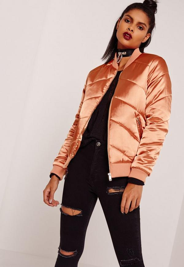 Satin Quilted Bomber Jacket Orange