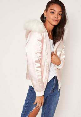 Satin Faux Fur Hood Padded Bomber Jacket Nude