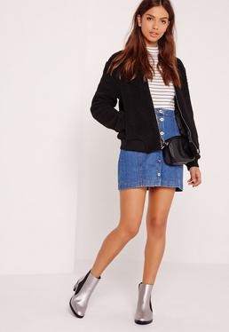 Black Faux Shearling Bomber Jacket