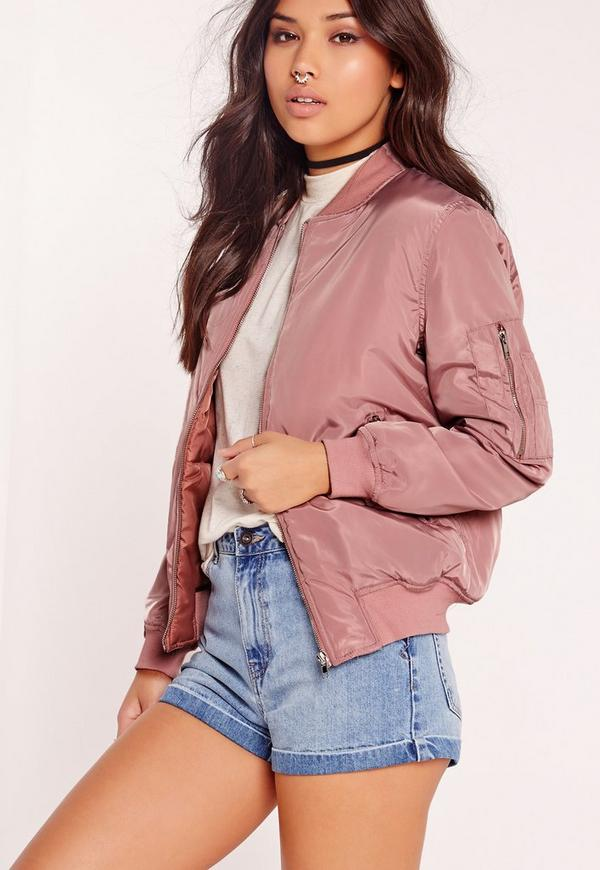 Padded Bomber Jacket Pink   Missguided