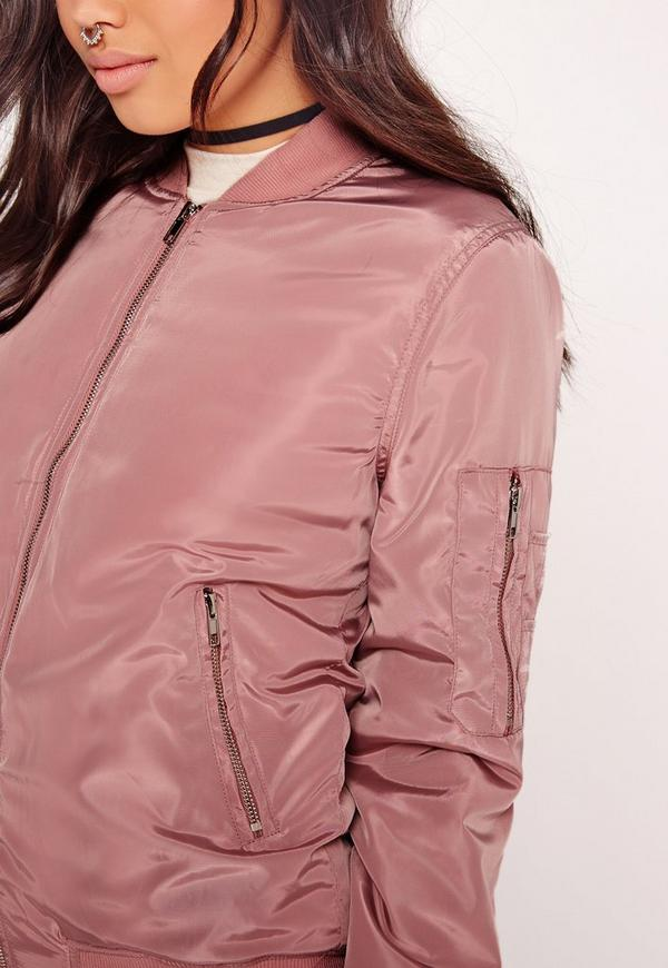 Padded Bomber Jacket Pink | Missguided