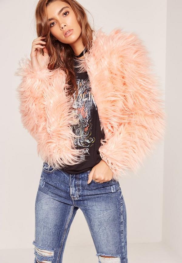 Pink Mongolian Faux Fur Coat