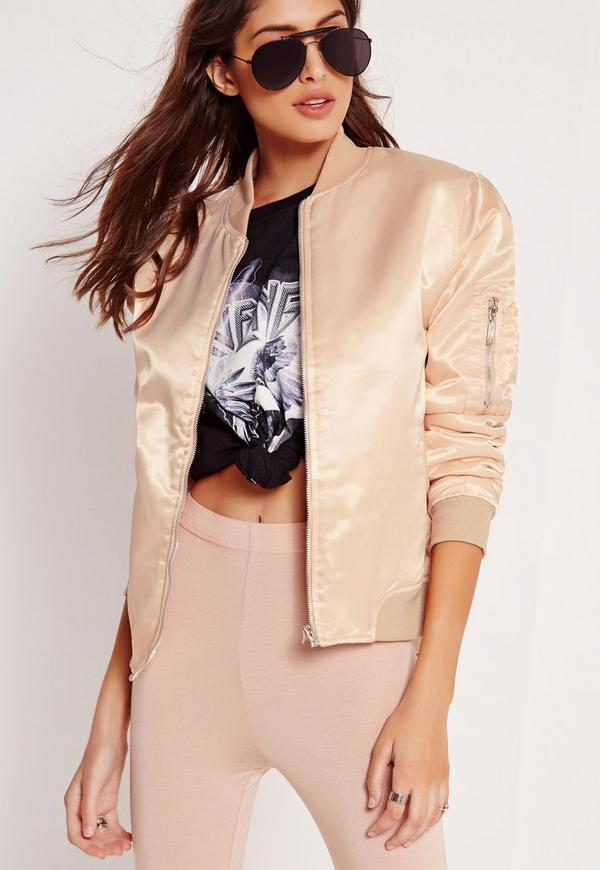 Satin Bomber Jacket Nude