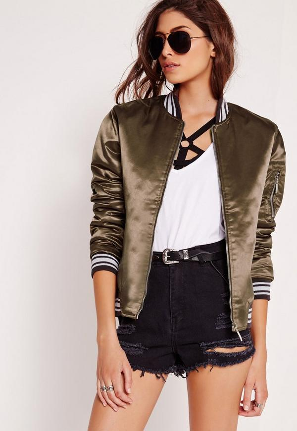 Sports Rib Satin Bomber Jacket Brown