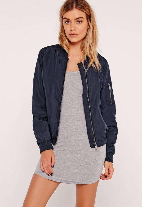 Lightweight Zipped Sleeve Pocket Bomber Jacket Navy