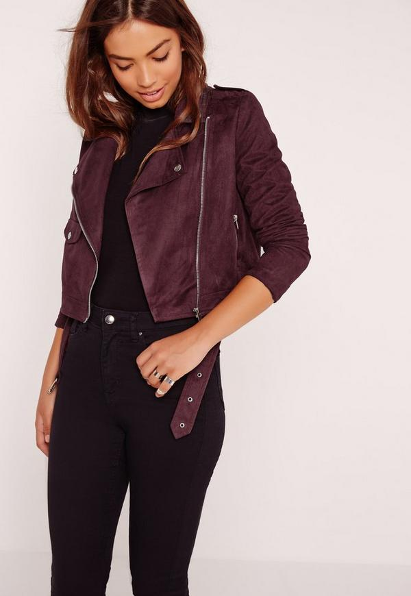 faux suede biker jacket burgundy missguided