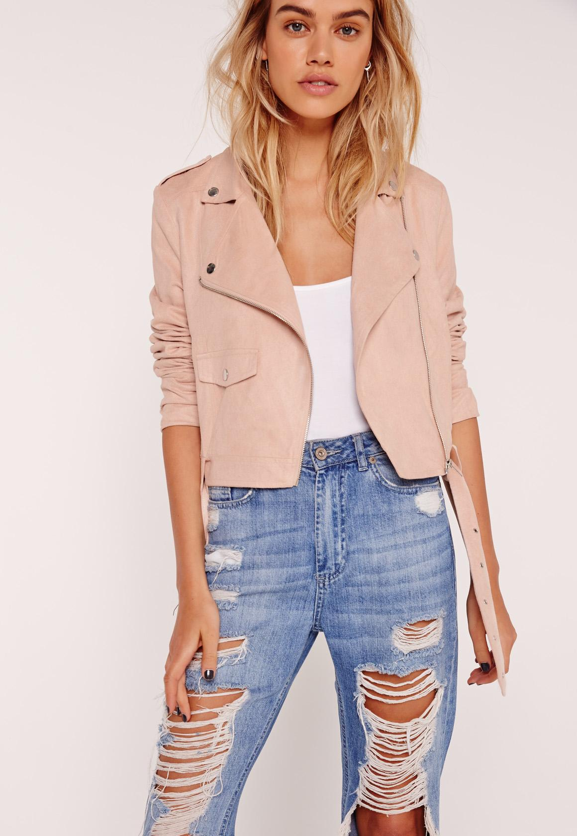 Faux Suede Biker Jacket Pink | Missguided
