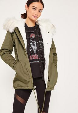 Khaki Short Faux Fur Lined Parka Coat