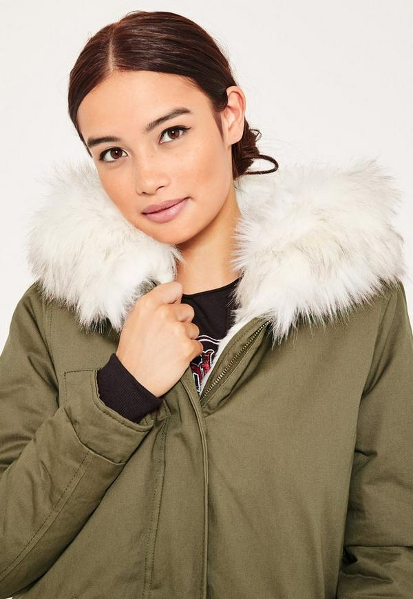 Khaki Short Faux Fur Lined Parka Coat | Missguided
