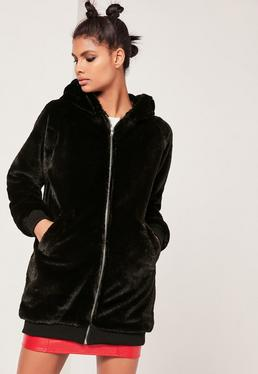 Black Hooded Longline Faux Fur Bomber Jacket