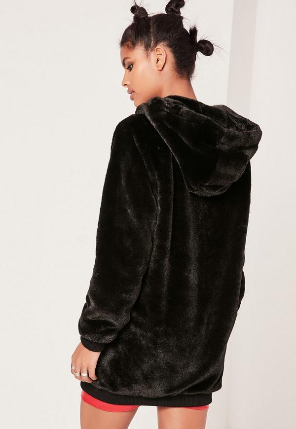 Black Hooded Longline Faux Fur Bomber Jacket | Missguided Ireland