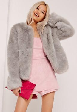 Collarless Short Faux Fur Coat Grey