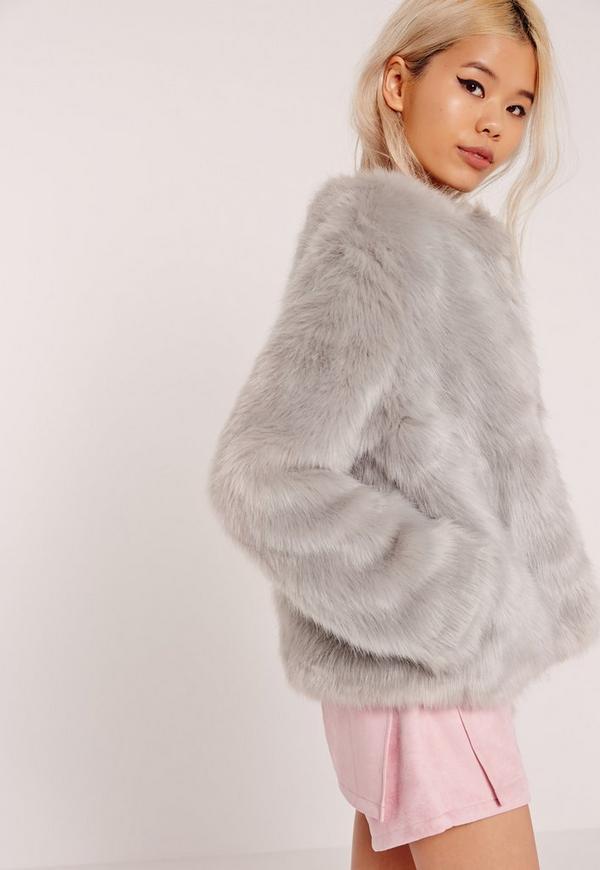 Collarless Short Faux Fur Coat Grey | Missguided